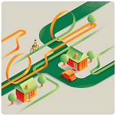 Vintage isometric country road with bicycle and vehicle.