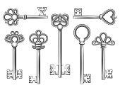 Vintage key vector set in engraving style