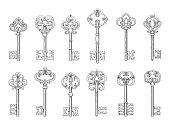 Vintage keys line vector icons