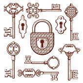 Vintage keys, locks and padlocks hand drawn vector illustration