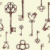 Vintage keys. seamless pattern. Hand drawn illustration.