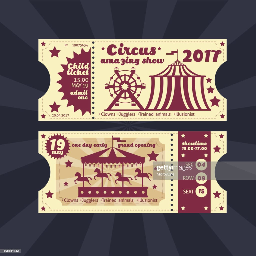 Vintage kids costume party invitation. Retro circus carnival ticket vector template