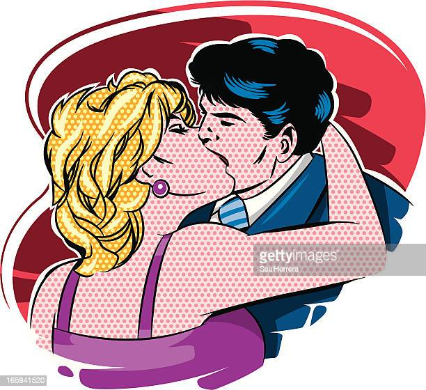vintage kiss - flirting stock illustrations, clip art, cartoons, & icons