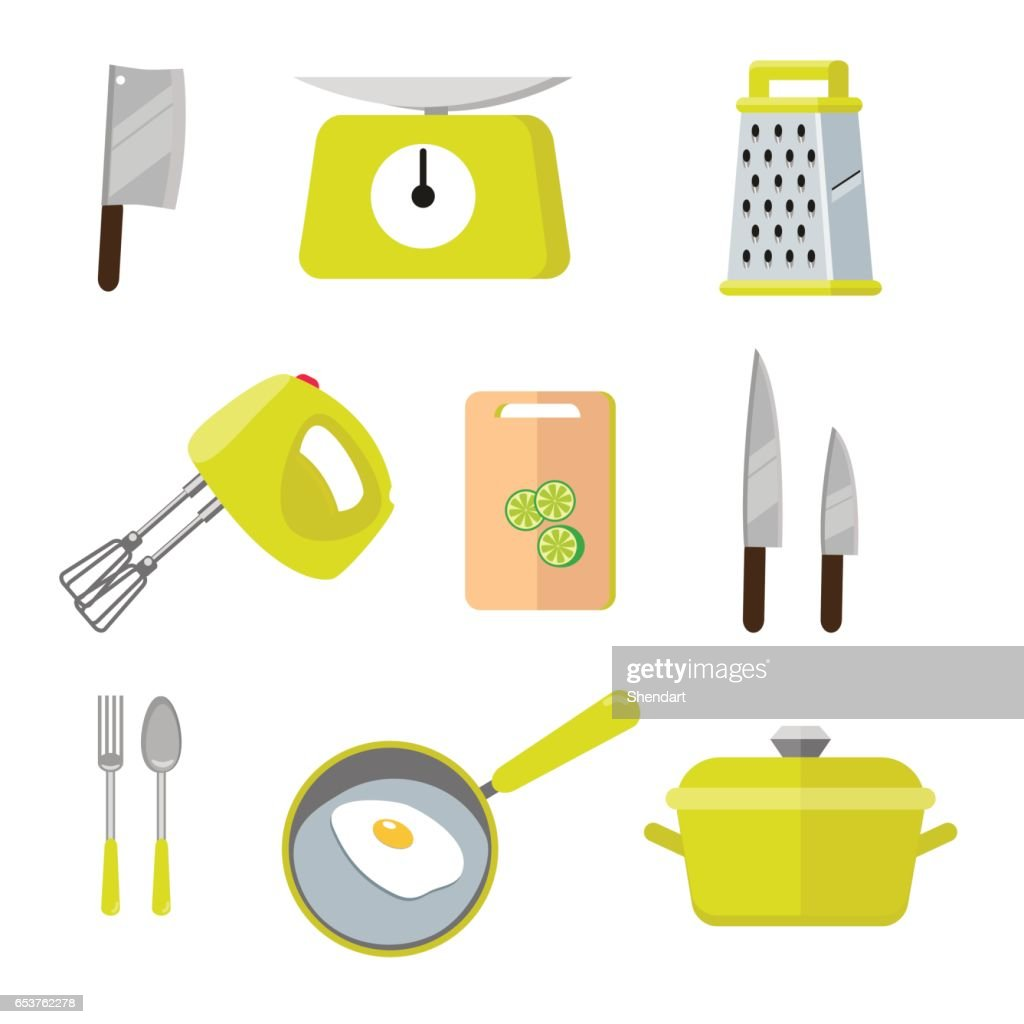 Vintage kitchen colorful tools. Set of tools for cooking. Vector illustration of cocooking elements. Illustration in flat style isolated on white background EPS10.