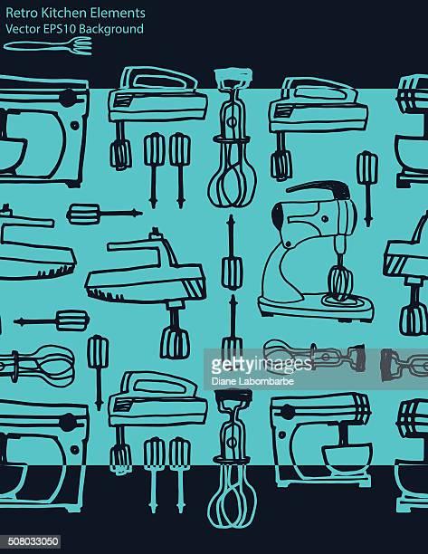 vintage kitchen gadgets background - egg beater stock illustrations, clip art, cartoons, & icons