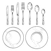 Vintage knife, fork, spoon and dishes in sketch engraving style. Hand drawing tableware isolated vector set