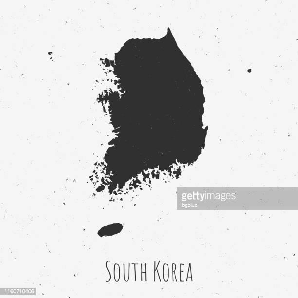 Vintage Korea Süd Karte mit Retro-Stil, auf staubigen weißen Hintergrund