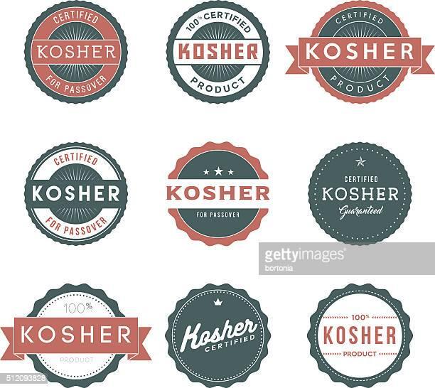Vintage Kosher Food Labels Icon Set