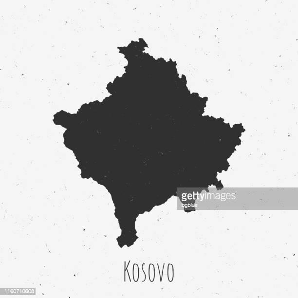 Vintage Kosovo map with retro style, on dusty white background