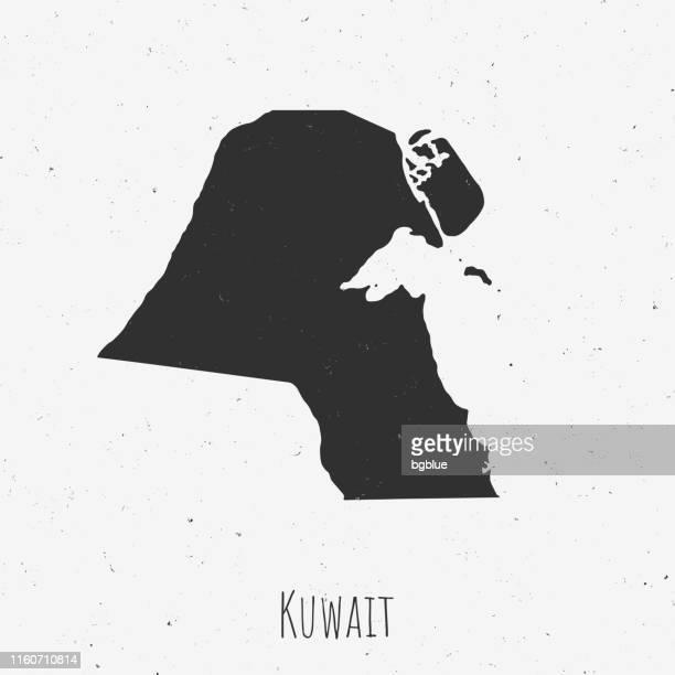 vintage kuwait map with retro style, on dusty white background - kuwait city stock illustrations