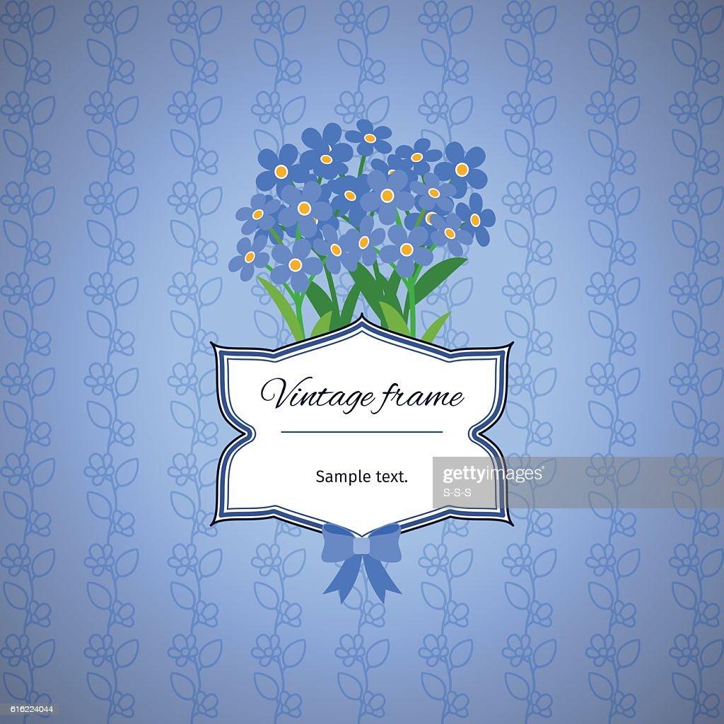 Vintage label design with blue flowers : Vektorgrafik