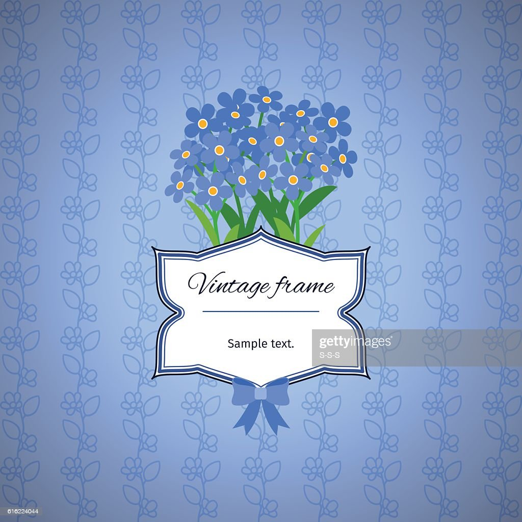 Vintage label design with blue flowers : Vector Art