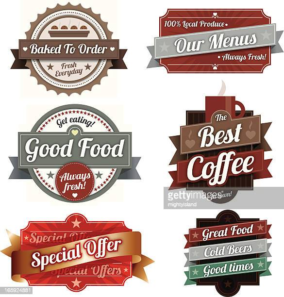 vintage label designs - store sign stock illustrations