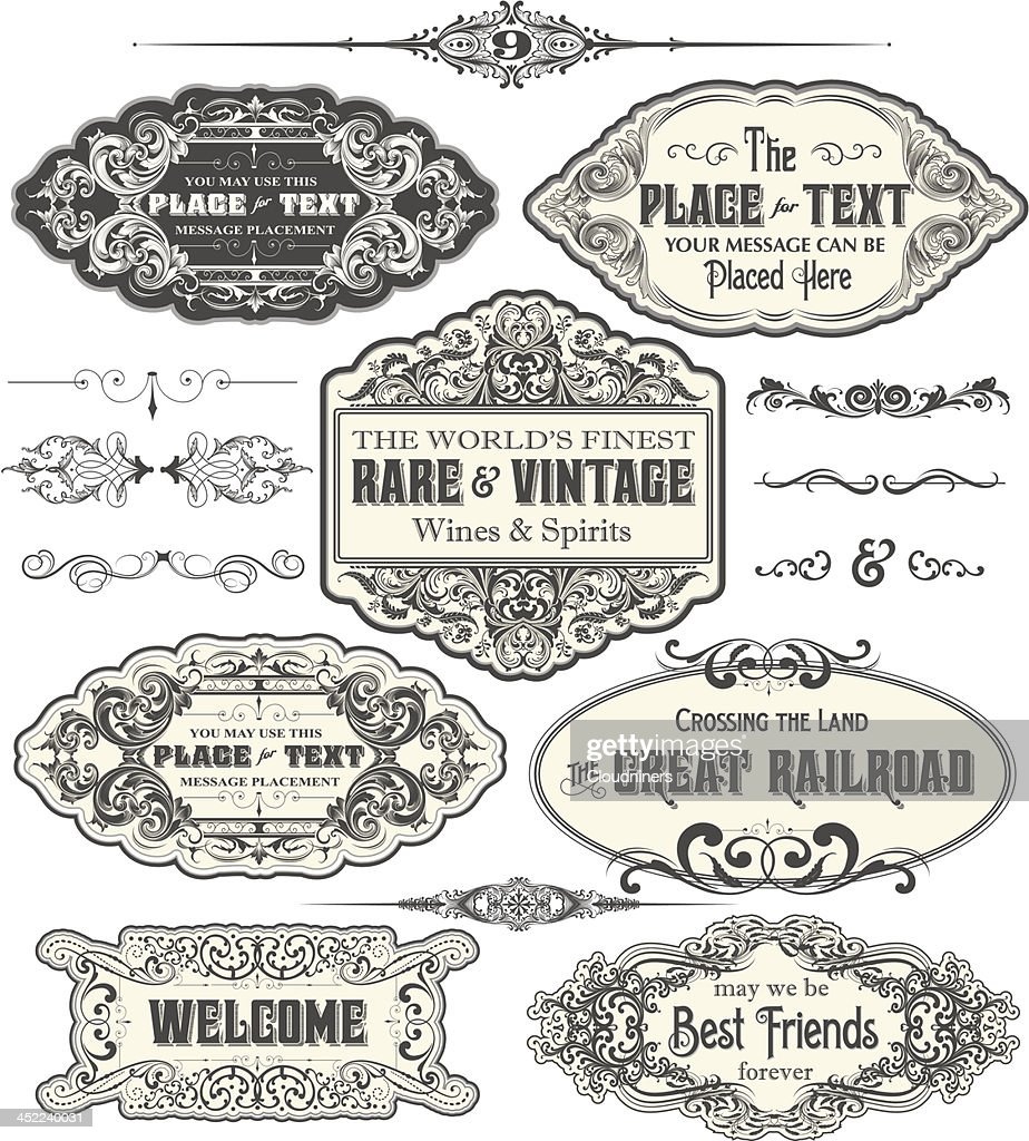 Vintage Label Frames : stock illustration