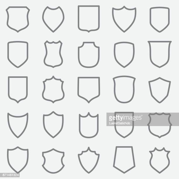 vintage label outline icons - shield stock illustrations