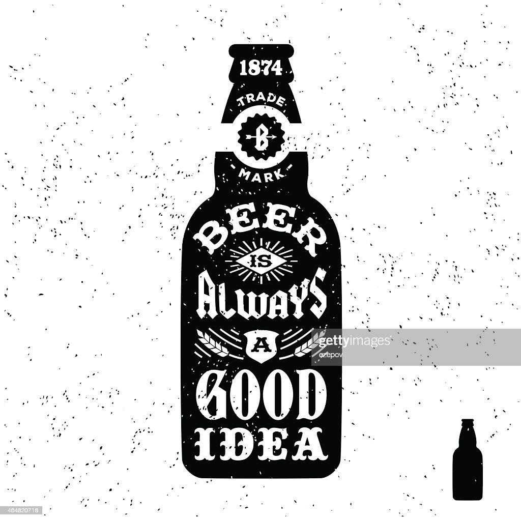 Vintage label with beer bottle