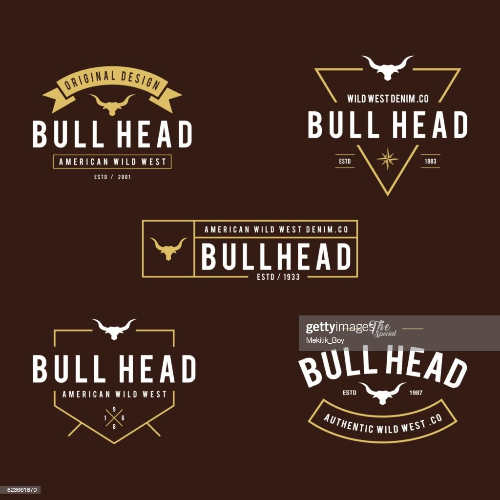 Vintage label with silhouette of bull head, Texas Wild West theme in white background