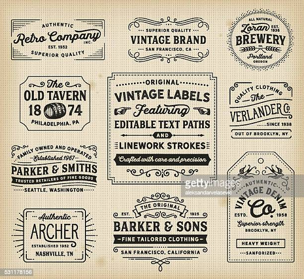 vintage labels and signs - retro style stock illustrations