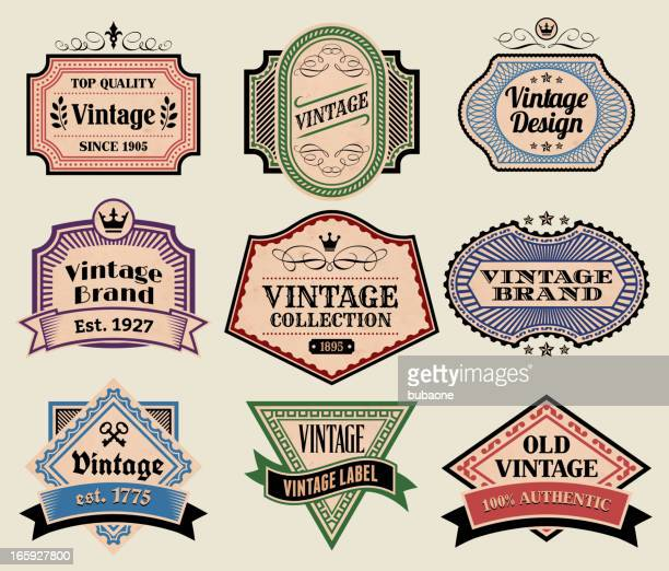 Vintage Labels Badges Set on Old Paper