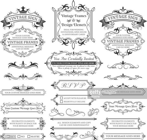 vintage labels, frames and design elements with copy space - royal stock illustrations