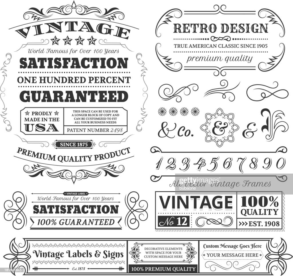 Vintage labels, frames and designs on white space