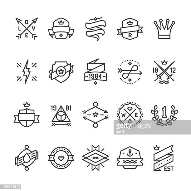 bildbanksillustrationer, clip art samt tecknat material och ikoner med vintage labels, geometric badges and hipster frames related vector icons - tatuering