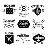 Vintage labels in black and white