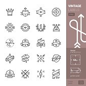 Vintage Labels related vector icons - PRO pack