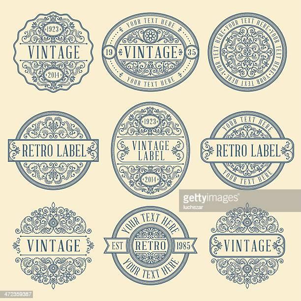 illustrations, cliparts, dessins animés et icônes de étiquettes vintage - antiquités