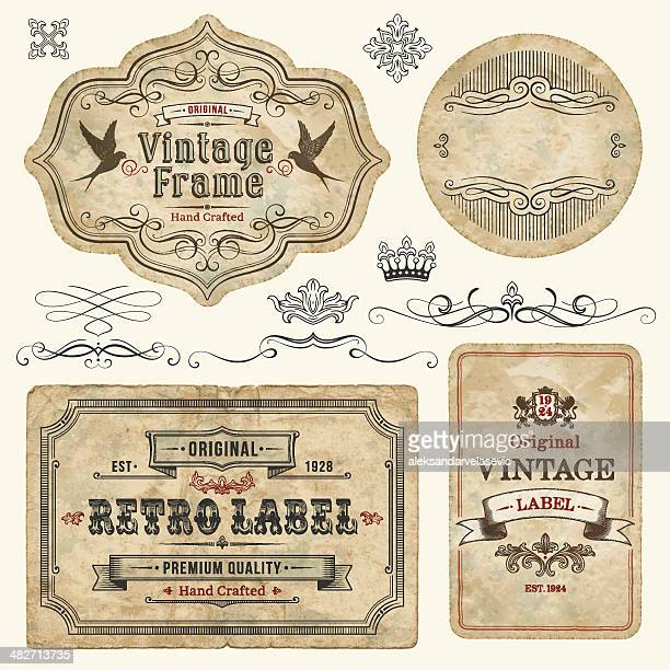 vintage labels - antique stock illustrations