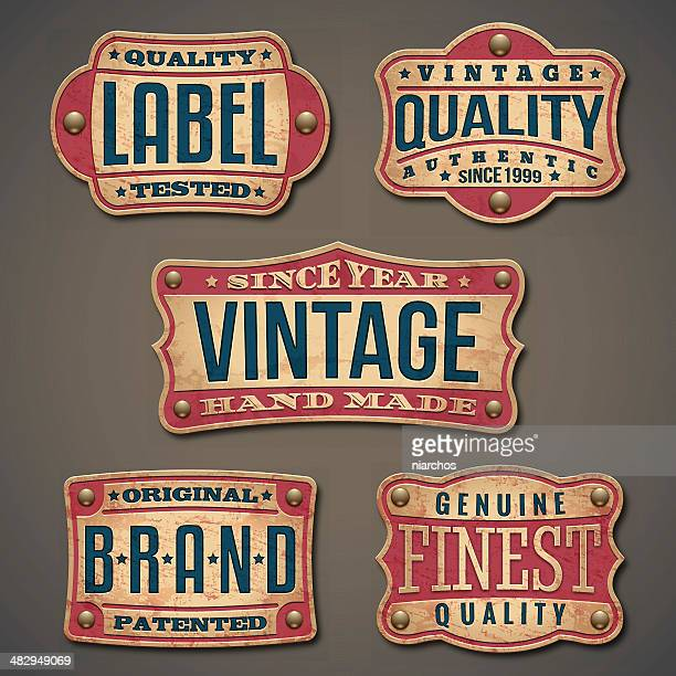 vintage labels - banner sign stock illustrations
