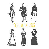 Vintage ladies and gentlemen style  illustration.