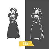 Vintage ladies illustration.