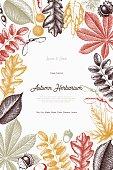 Vintage Leaves and seeds card