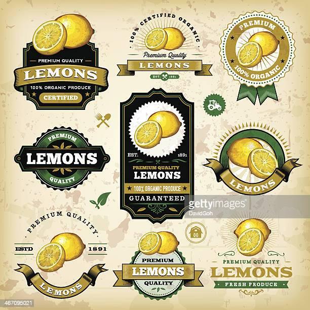 vintage lemon labels - citrus fruit stock illustrations, clip art, cartoons, & icons
