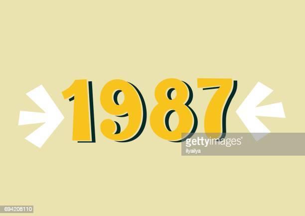 1987 ヴィンテージ レタリング - 1987年点のイラスト素材/クリップアート素材/マンガ素材/アイコン素材