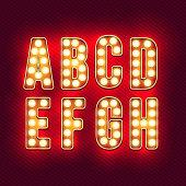 Vintage letters. Set of retro neon alphabet. part 1