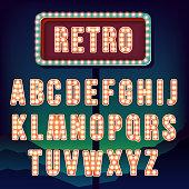Vintage letters. Set of retro neon alphabet