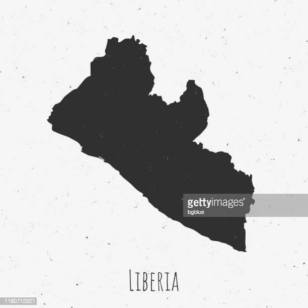 ilustrações, clipart, desenhos animados e ícones de mapa de liberia do vintage com estilo retro, no fundo branco empoeirado - libéria