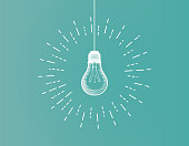 Vintage light bulb illustration isolated on green BG