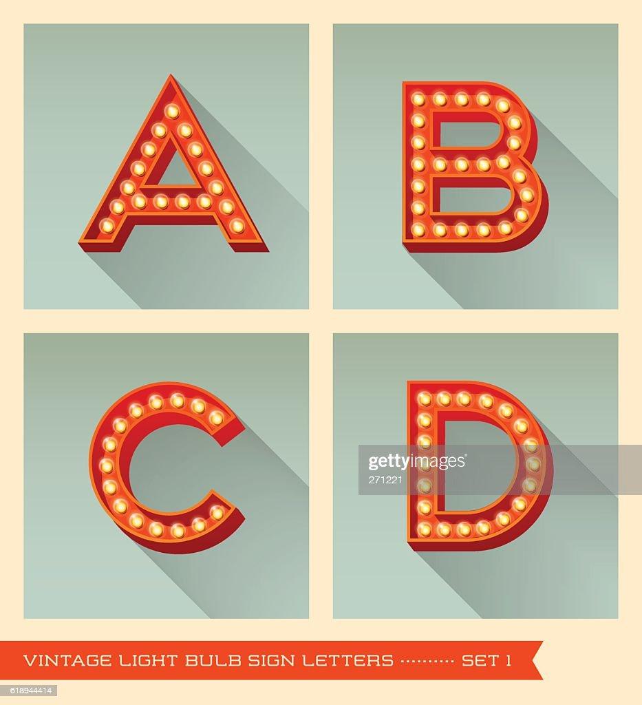 Vintage light bulb sign letters a, b, c, d.