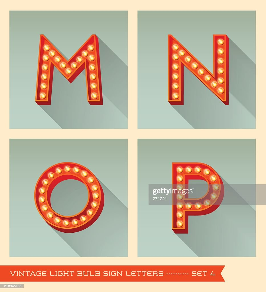 Vintage light bulb sign letters m, n, o, p