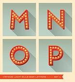 Vintage light bulb sign letters m, n, o, p