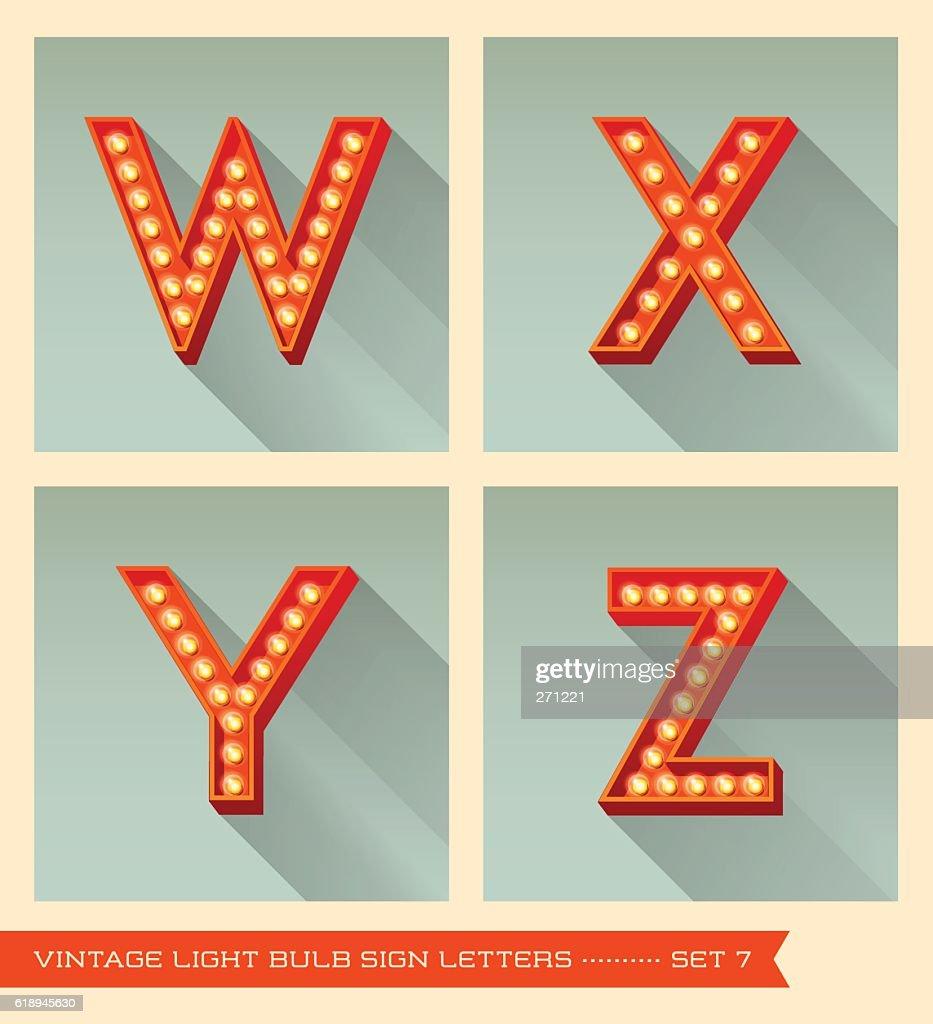 Vintage light bulb sign letters w, x, y, z.