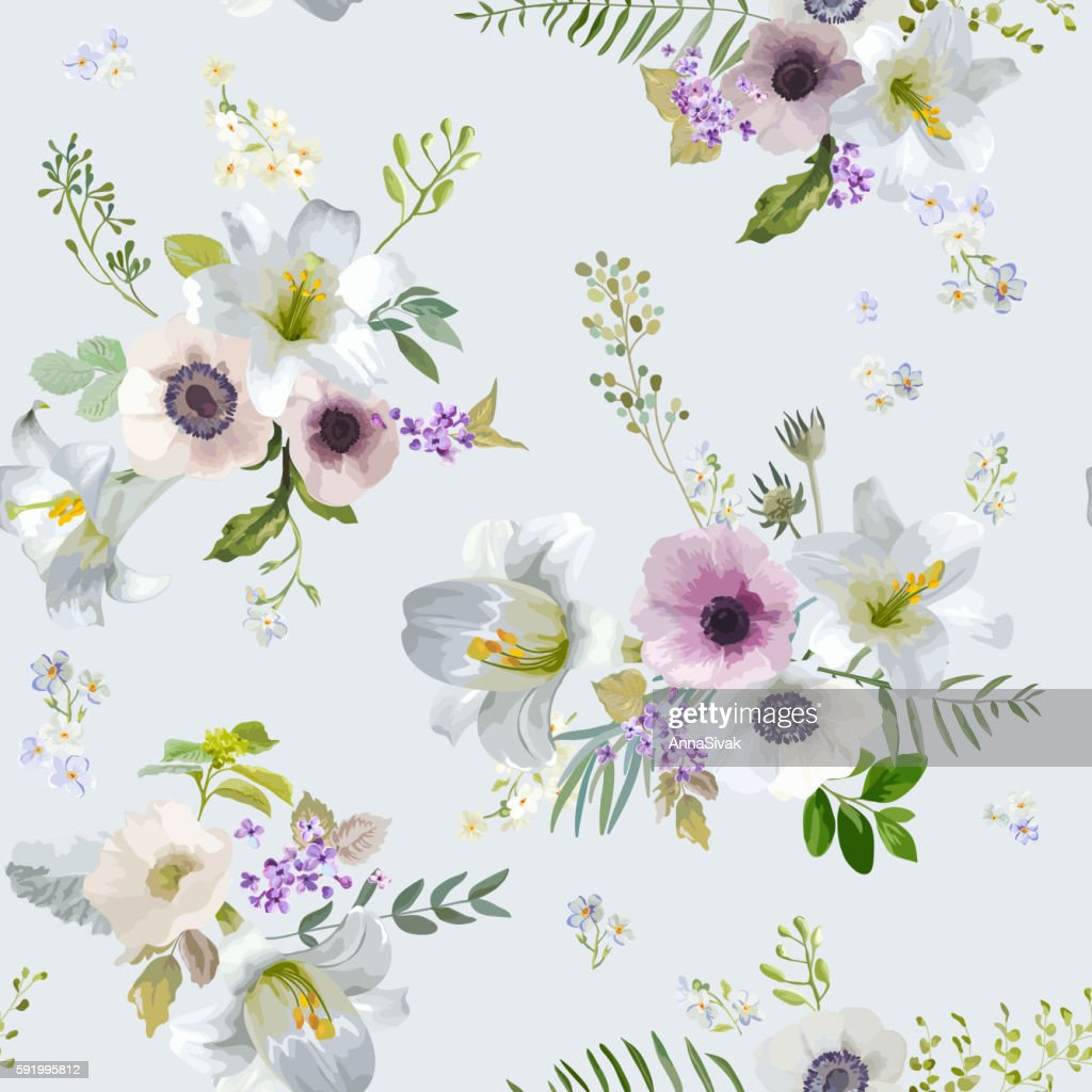 Vintage Lily and Anemone Flowers Background - Summer Seamless Pattern