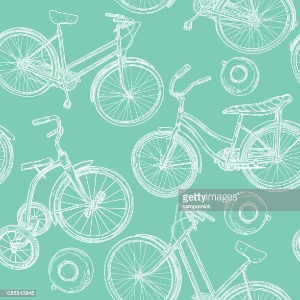 Dessin au trait vintage Bikes et cloches Seamless Pattern