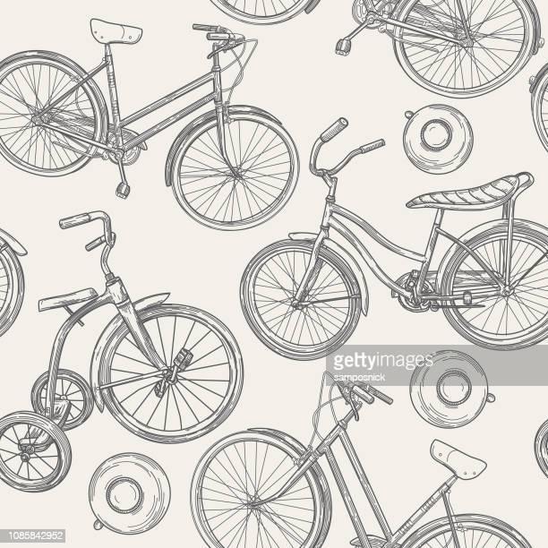Vintage Line Art Bikes and Bells Seamless Pattern