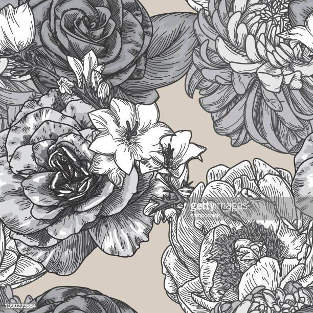 vintage line art seamless floral patterns - loopable elements stock illustrations