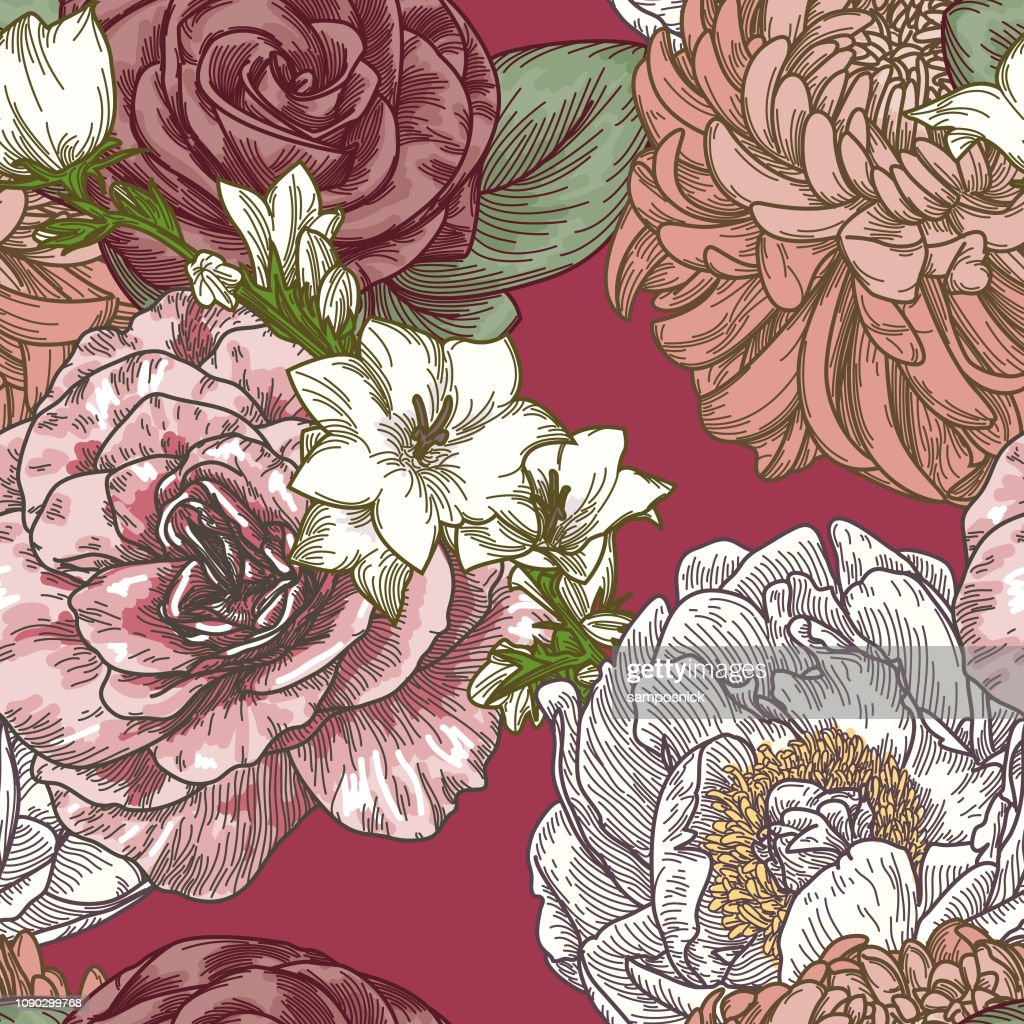 Vintage Line Art Seamless Floral Patterns
