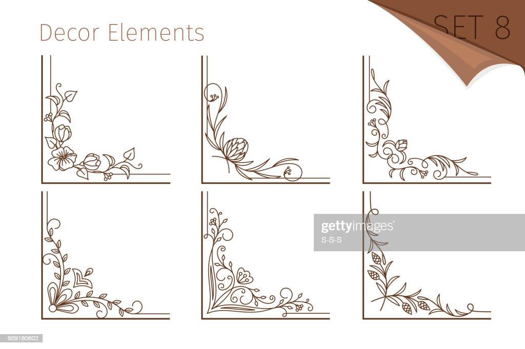 Vintage line floral corners